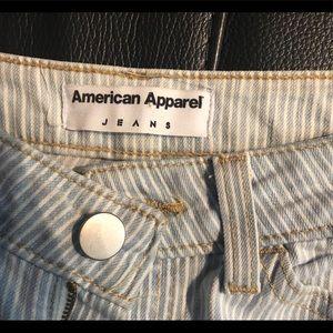 American Apparel Jeans - American Apparel Light Blue Striped Skinny Jeans